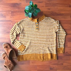 AEO mustard stripe jegging fit sweater w/ buttons